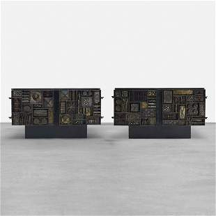 Paul Evans pair of important Welded Front cabinets