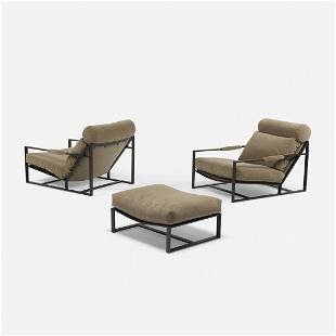 Milo Baughman pair of lounge chairs, B-1739 and ottoman