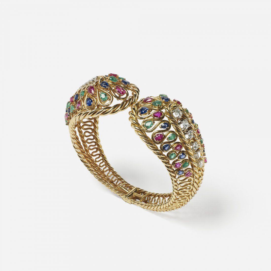 Gubelin ruby, emerald, sapphire & diamond bracelet