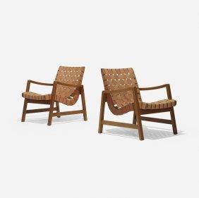 Jens Risom Lounge Chairs Model 652 W, Pair