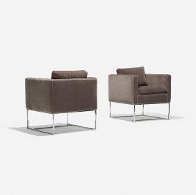 Milo Baughman Lounge Chairs, Pair