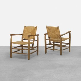 Charlotte Perriand, Lounge Chairs, Pair
