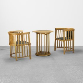 Josef Hoffmann, Pair Of Chairs And Occasional Table