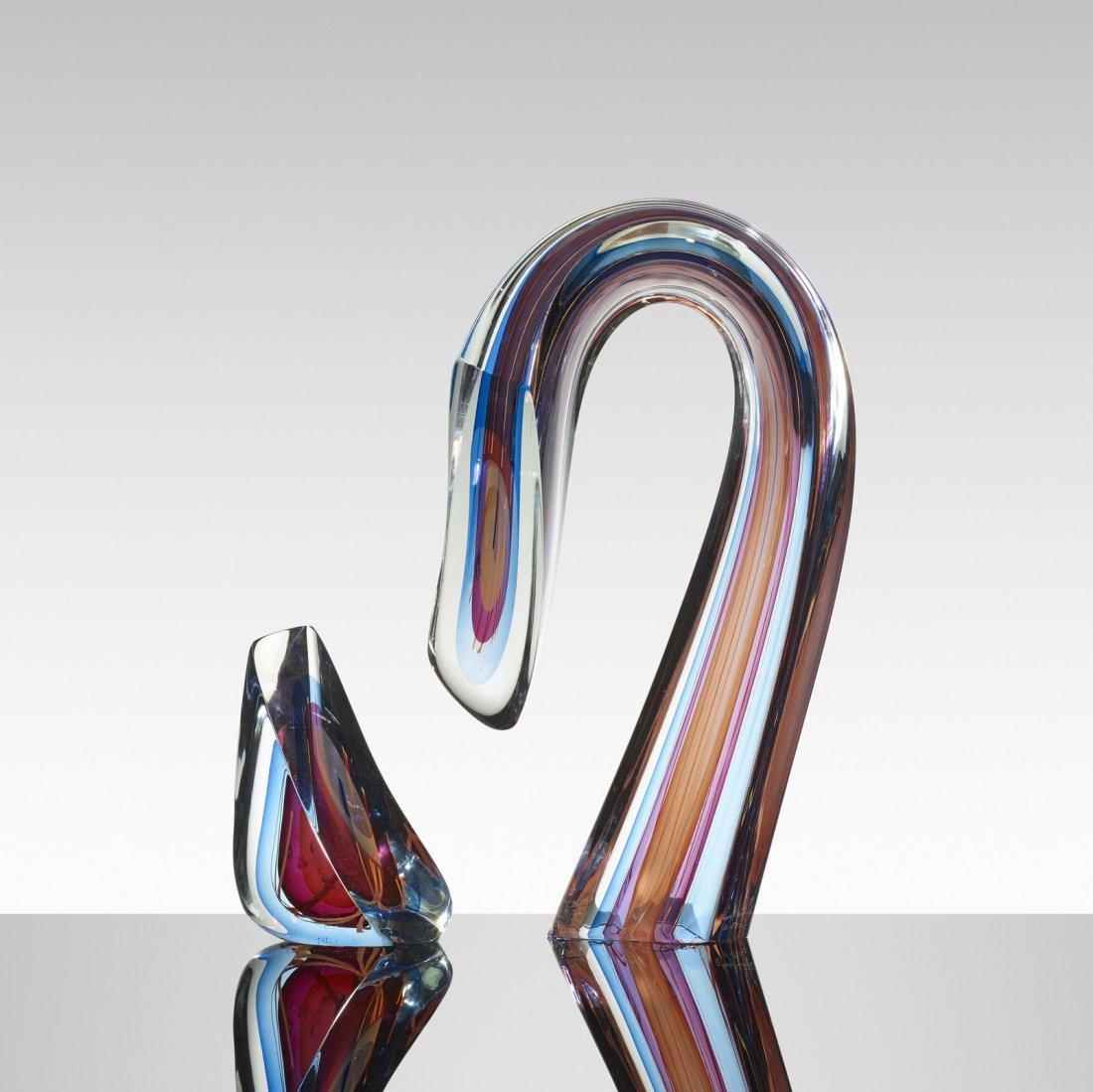 Harvey Littleton, Blue/Magenta Sliced Descending Form