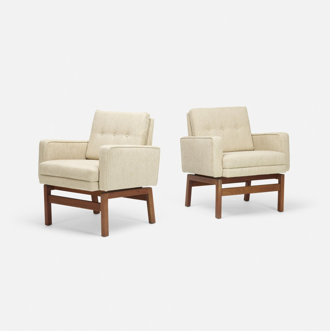 Jens Risom, lounge chairs, pair