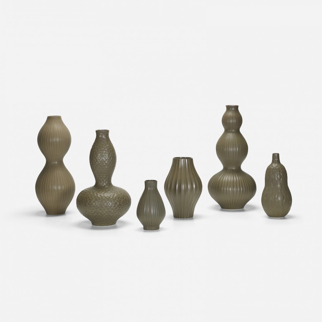 Jonathan Adler, collecton of six Pot Au Porter vases