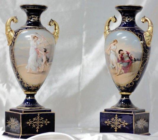 Pair of porcelain Rudolstadt Handpainted Vases