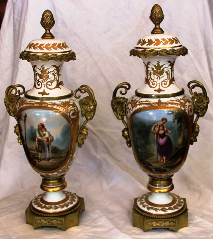 Pair of Antique Severs Figural Covered Urns
