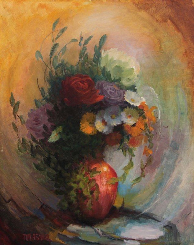 Oil Paint On Board Of Landscape, C. Thrasher