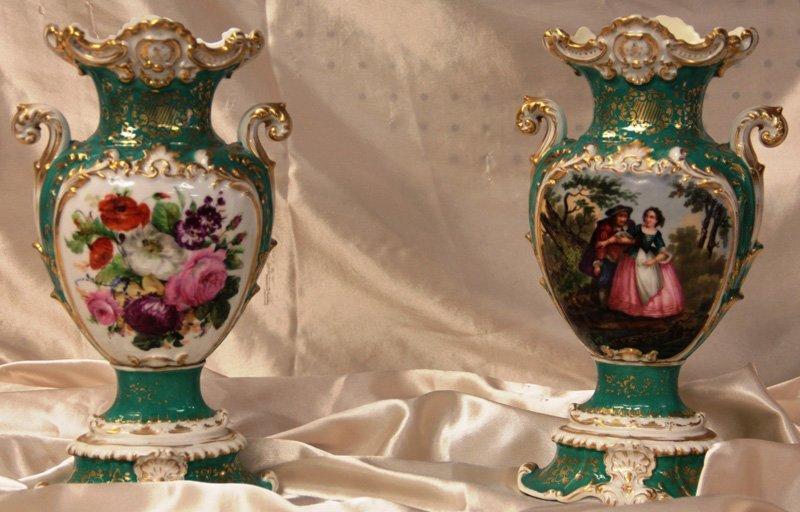 Pair of Green Jacob Petite Porcelain Vases