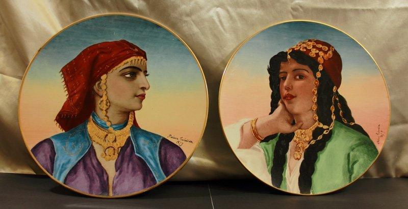 Pair of Hand Painted Portrait  Plaques