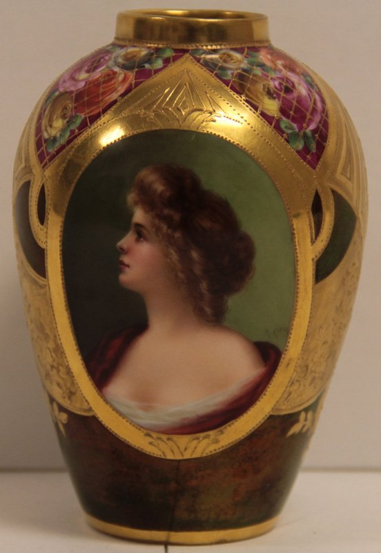 Royal Vienna Hand Painted Portrait, Vase  Signed