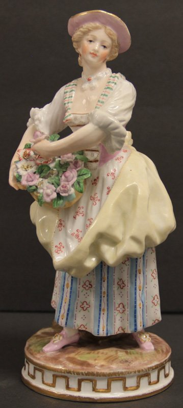 Meissen Porcelain Lady With Basket of Flowers