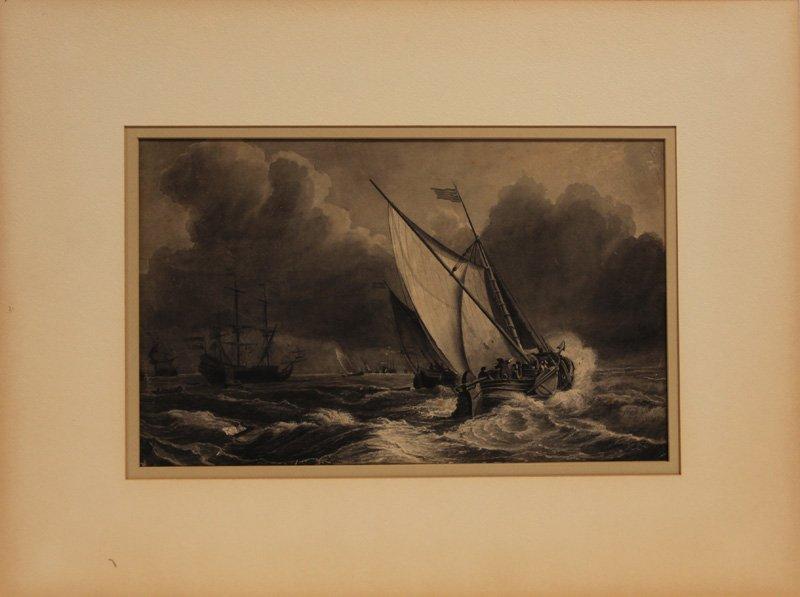 Willem Van De Velde Watercolor Stormy Ships at Sea