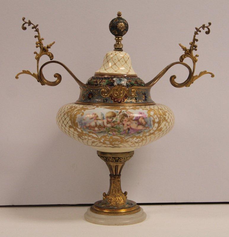 Sevres Porcelain & Champeve Enamel Urn