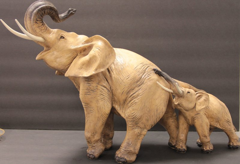 GUIDO CACCIAPUOTI  SCULPTURE OF 2 ELEPHANTS