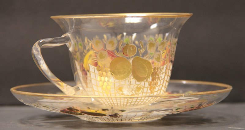 MOSER HAND PAINTED GLASS CUP & SAUCER