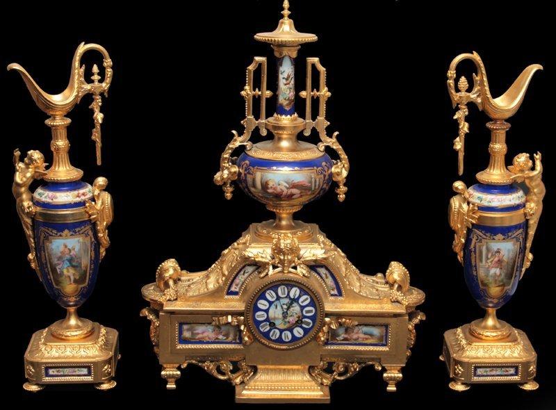 Sevres Porcelain and Bronze Garniture Set