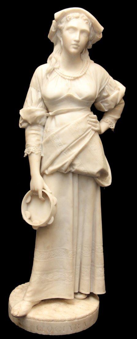 AUGUSTE PASSAGLIA (ITALIAN 1838-1918) MARBLE FIGURE