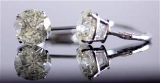 14 KT WG PAIR OF 2.07 CT ROUND DIAMOND EARRINGS