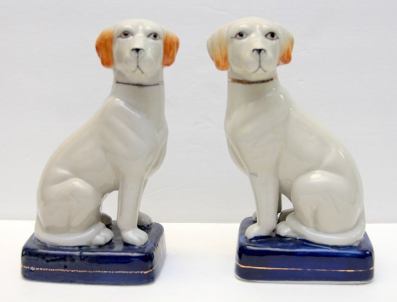 PAIR OF STAFFORDSHIRE PORCELAIN DOGS