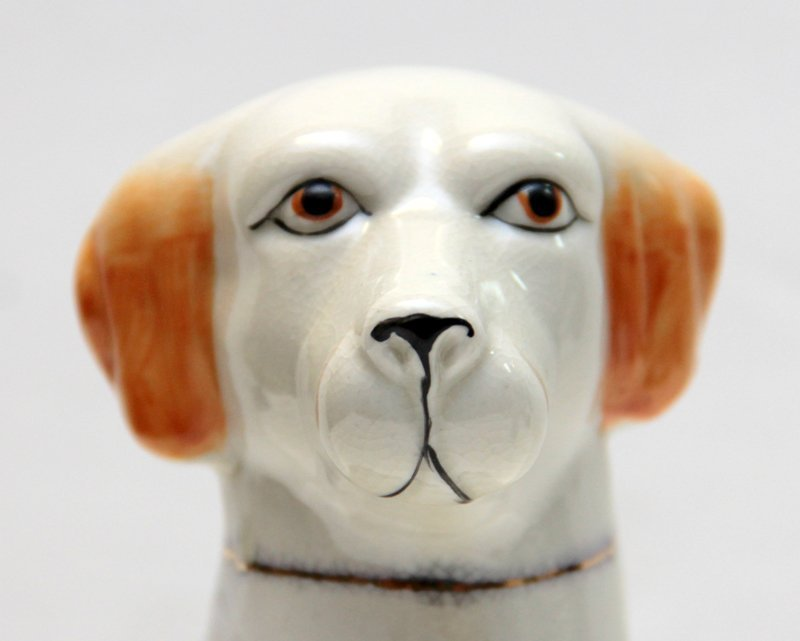 PAIR OF STAFFORDSHIRE PORCELAIN DOGS - 4