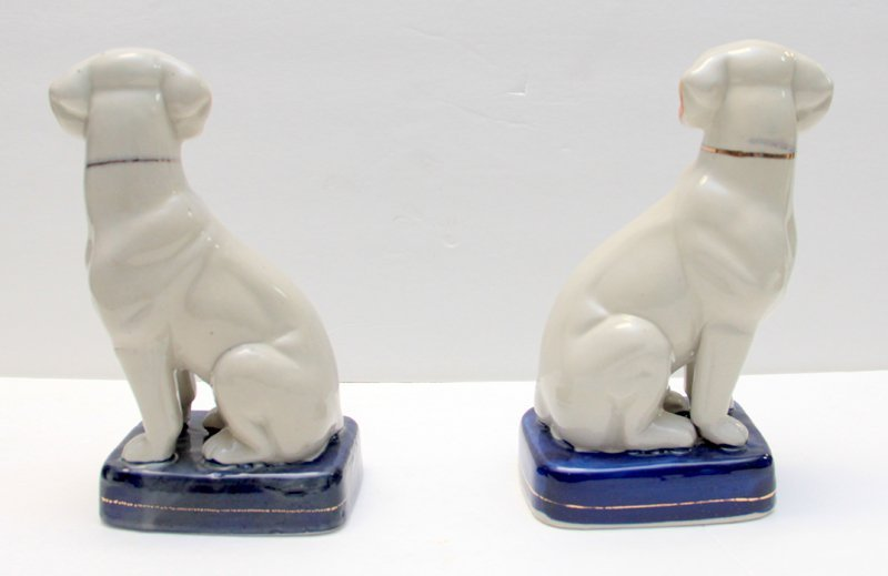 PAIR OF STAFFORDSHIRE PORCELAIN DOGS - 7