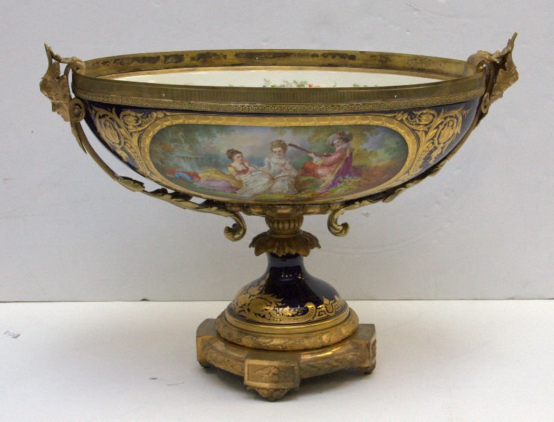 Magnificent Bronze Mounted Sevres Porcelain Centerpiece
