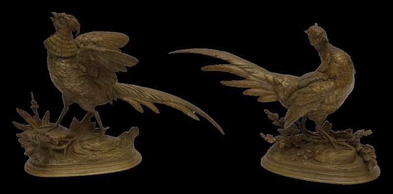 Pair of 19th C. Bronze Pheasants, Signed E. Delabierre