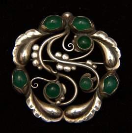 Georg Jensen 925 & Cabachon Emerald Brooch