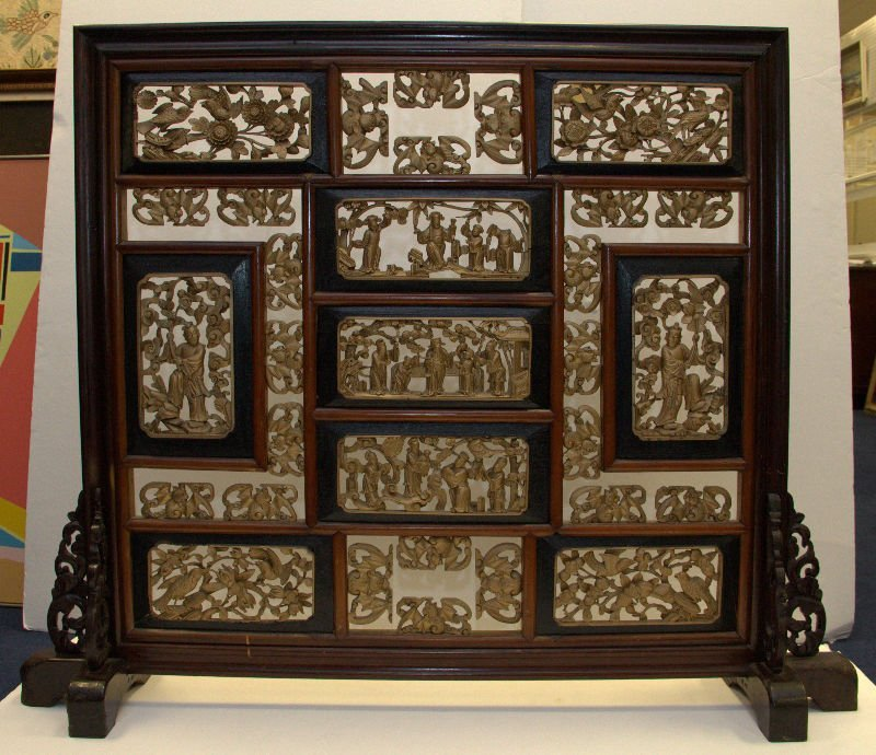 Chinese Hand Carved Fire Screen.
