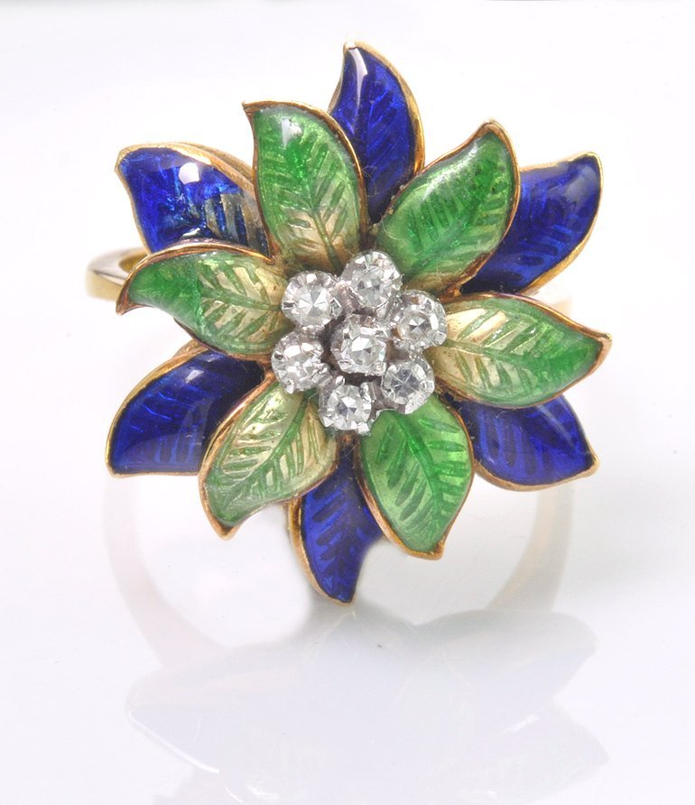 1970's 18K Diamond and Enameled Ring