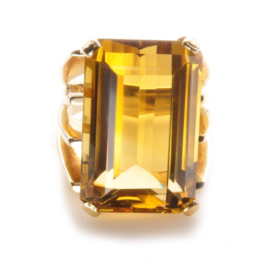 Mid-Modern Yellow Gold Golden Citrine Ring