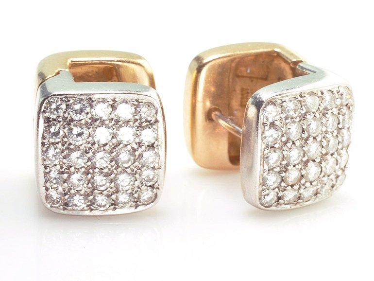 18k Yellow Gold and Diamond Huggie Earrings