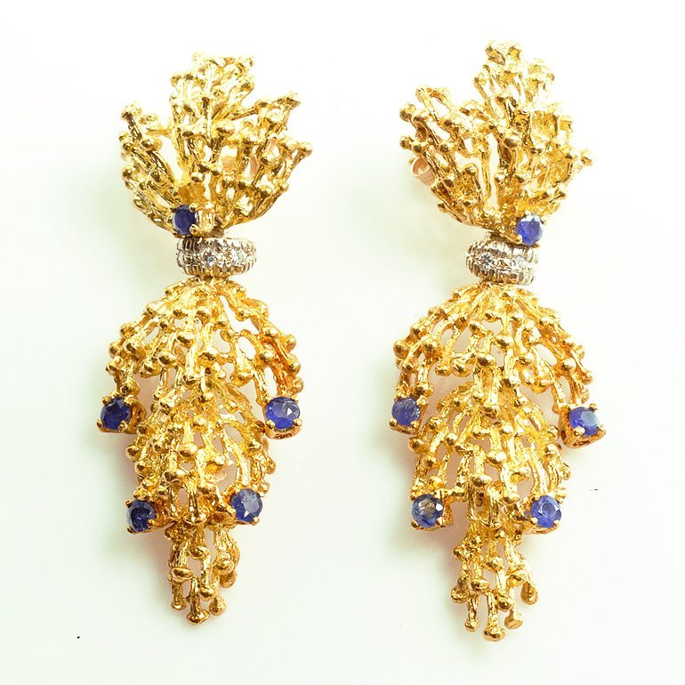 18K Yellow Gold, Sapphire And Diamond Ear Pendants