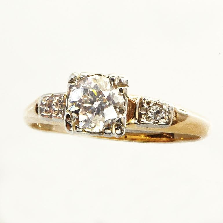 Art Deco Gold and Diamond Engagement Ring .65Cts