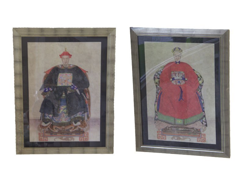 Pair of large watercolors on rice paper