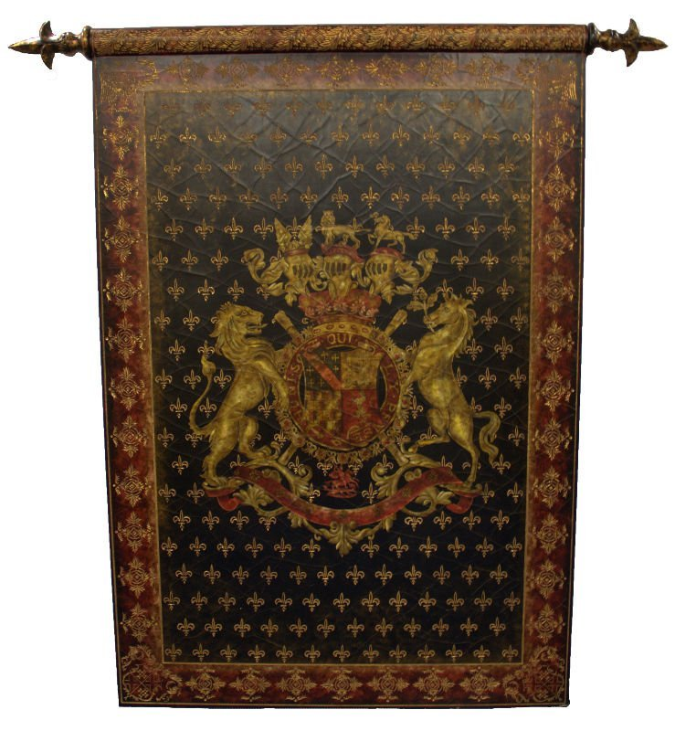 French wooden painted coat of arms