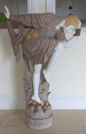 Art Deco Style Multi Color Marble Sculpture Depicting A