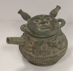 Heavy Chinese Bronze Covered Wine Vessel