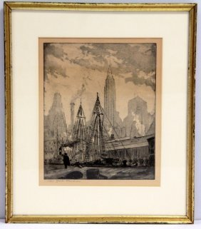 Leon Louis Dolice Etching New York Harbor