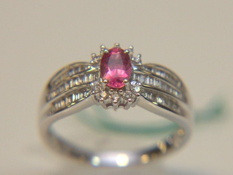 18 Kt. WG Rubelite & Diamond Ring