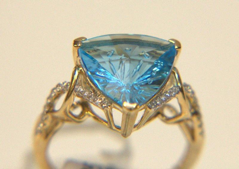 14 Kt. YG, Blue Topaz and Diamond Ring