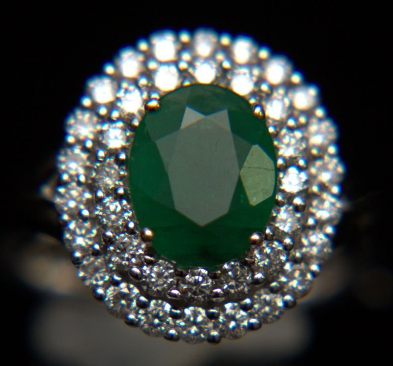 18kt WG, Emerald and Diamond Ring