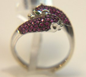 """14 Kt. Wg """"hot Pink"""" Ruby Ring"""
