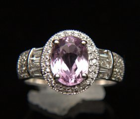 14 Kt. Kunzite And Diamond Ring