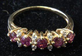 Vintage 14kt Yg Ruby And Diamond Ring
