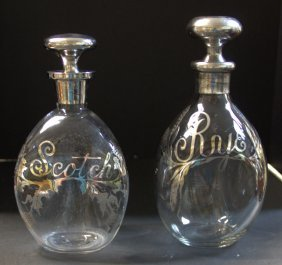 Two Silver Deposit Rye And Scotch Bottles