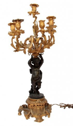 19th C. French Bronze Ormolu 7 Light Candelabra