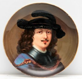 """French Porcelain """"musketeer"""" Portrait Plate"""